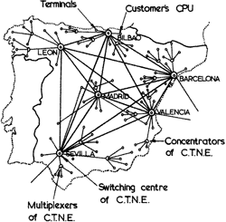 Spanish CNTE packet switched network plans for 1978, as proposed 1973